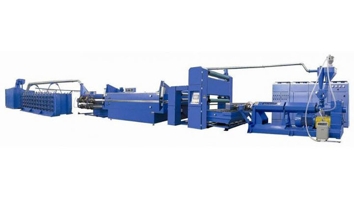 Plastic Valve Bag Making Machine , PP Woven Bag Flat Yarn Extrusion Line